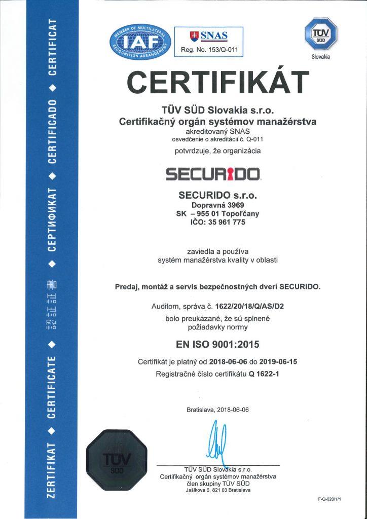 Certifikát securido