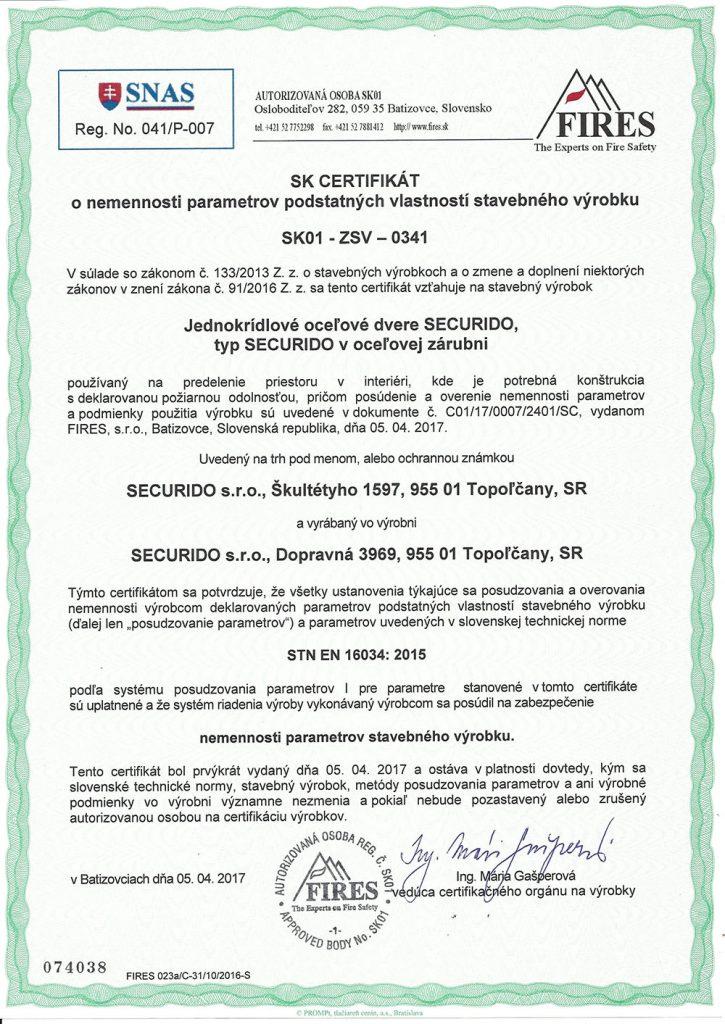 Certifikát Vstavané skrine