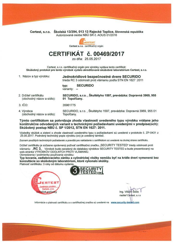 Certifikát certest
