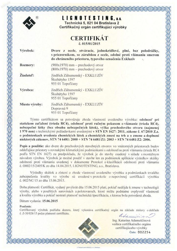 Certifikát dvere