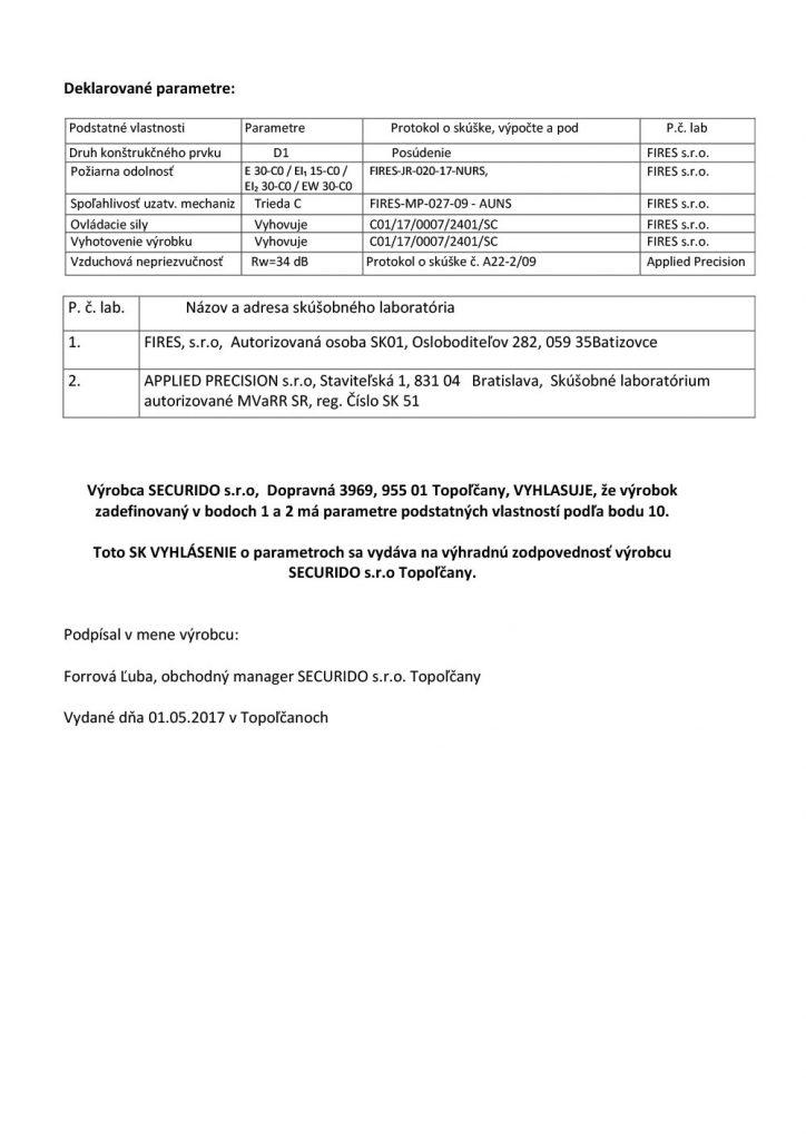 certifikát o vyhlásení parametrov